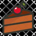 Cake Slice Cherry Icon