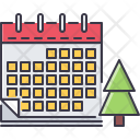 Calendar Tree Christmas Icon