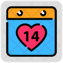 Valentine Day Calendar Heart Icon
