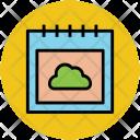 Calendar Cloud Sign Icon