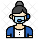 Call Center Agent Phone Assistance Icon