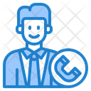 Help Support Phone Man Icon