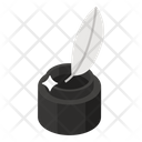 Feather Pen Quill Writing Inkwell Icon