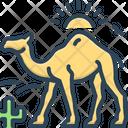 Camel In Desert With Sun Camel Desert Icon