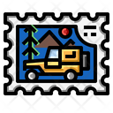 Camper Car Stamp Icon
