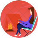 Campfire Adventure Outdoor Cooking Icon