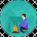 Campfire Adventure Outdoor Cooking Icon