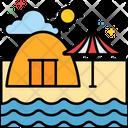 Camping Beach Icon