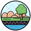Canal Waterscape Lake View Fields Icon
