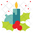 Candle Christmas Decoration Icon