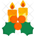 Candles Mistletoe Christmas Decoration Icon