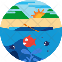 Canoeing Fishing Beach Icon