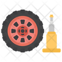 Wheel And Jack Workshop Concept Car Alignment Icon