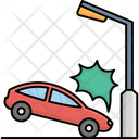 Car Collision With Street Light Accident Automobile Icon