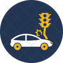 Car Collision With Traffic Signals Accident Automobile Icon