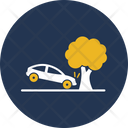 Car Collision With Tree Icon