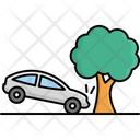 Car Collision With Tree Accident Car Icon