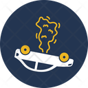 Car Engine Fire Flame In Car Accident Icon