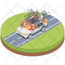 Car On Fire Icon