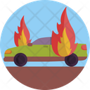 Car On Fire Fire Car Icon