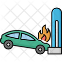 Car Wreck And Flame Accident Automobile Icon