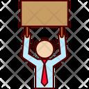 Cardboard Sign Businessman Icon