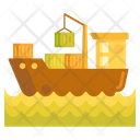 Cargo Barge Container Ship Cargo Shipping Icon