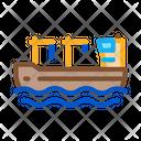Crane Boat Machine Icon