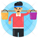 Carrying Water Buckets Icon
