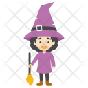 Cartoon Girl Witch Icon