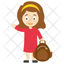 Cartoon School Girl Icon