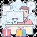 Reception Desk Service Provider Cash Counter Icon