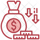 Cash Decrease Money Loss Dollar Loss Icon