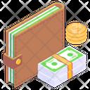Money Wallet Purse Billfold Wallet Icon