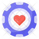 Casino Chip Heart Coin Poker Chip Icon