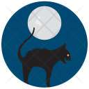 Cat Night Black Icon