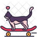 Cat Playing Skateboard Icon