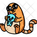 Cat With Cat Toy Icon
