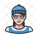 Caucasian Hipster Woman Caucasian Hipster Icon