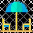 Chairs Umbrella Dinning Area Icon