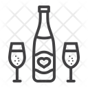Bottle Champagne Glasses Icon