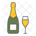 Champagne Bottle Glass Icon