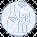 Champagne Bottle Flutes Icon