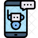 Online Shopping Chatbot Support Smartphone Icon