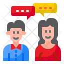 Chatting Couple Communicate Man Icon