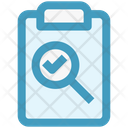 Clipboard Magnifier Tick Icon
