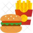 Fast Food Cheese Burger French Fries Icon