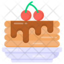 Sweet Dessert Cherry Cake Icon