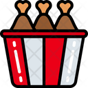 Chicken Bucket Take Away Eating Icon