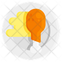 Flat Food Chicken Icon